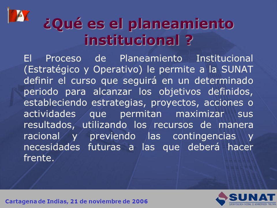 Cartagena de Indias, 21 de noviembre de 2006 ¿Qué es el planeamiento institucional ? El Proceso de Planeamiento Institucional (Estratégico y Operativo