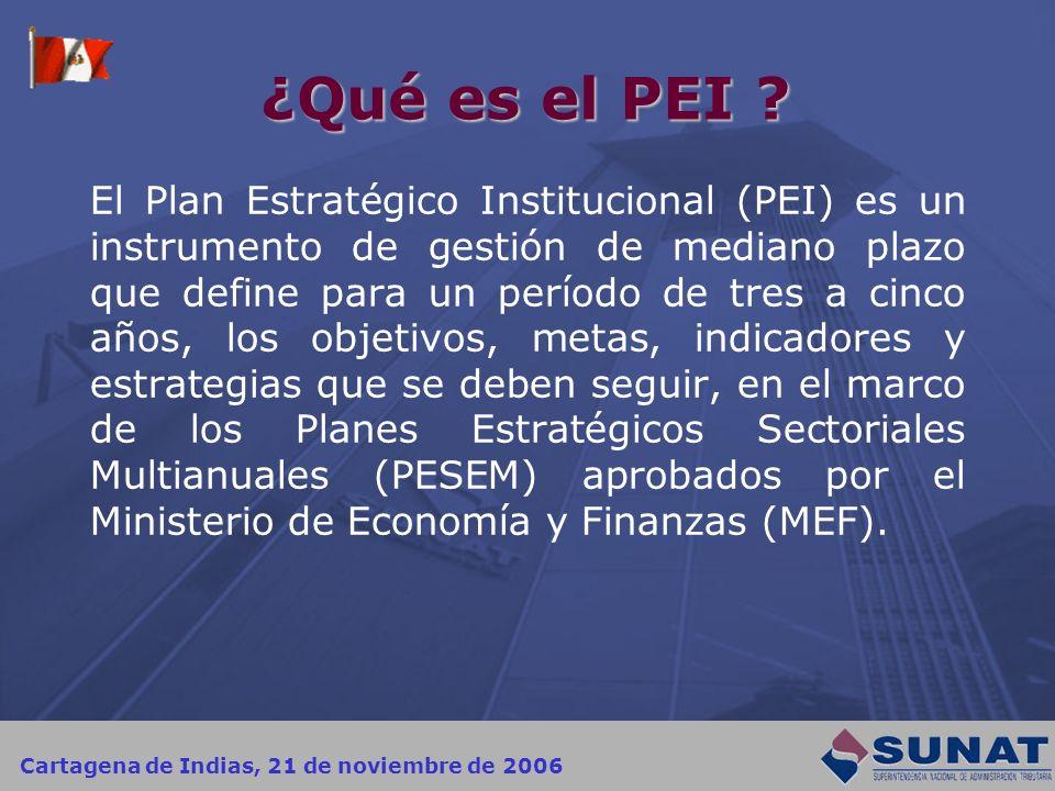Cartagena de Indias, 21 de noviembre de 2006 ¿Qué es el PEI ? El Plan Estratégico Institucional (PEI) es un instrumento de gestión de mediano plazo qu