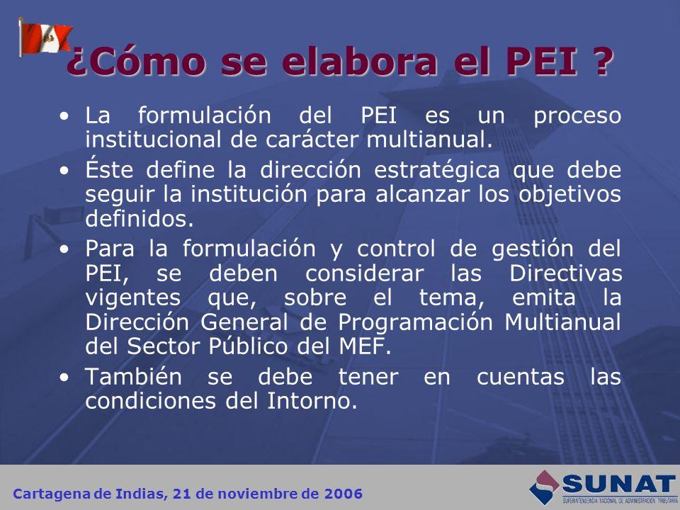 Cartagena de Indias, 21 de noviembre de 2006 ¿Cómo se elabora el PEI ? La formulación del PEI es un proceso institucional de carácter multianual. Éste