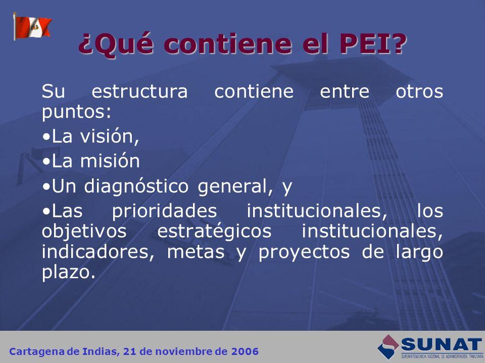 Cartagena de Indias, 21 de noviembre de 2006 ¿Qué contiene el PEI? Su estructura contiene entre otros puntos: La visión, La misión Un diagnóstico gene
