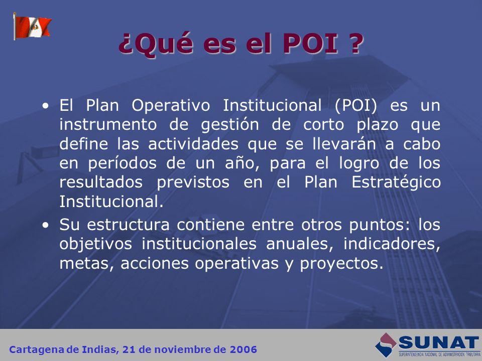 Cartagena de Indias, 21 de noviembre de 2006 ¿Qué es el POI ? El Plan Operativo Institucional (POI) es un instrumento de gestión de corto plazo que de