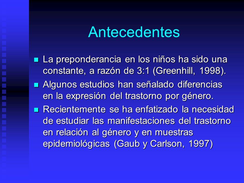 Antecedentes La preponderancia en los niños ha sido una constante, a razón de 3:1 (Greenhill, 1998). La preponderancia en los niños ha sido una consta