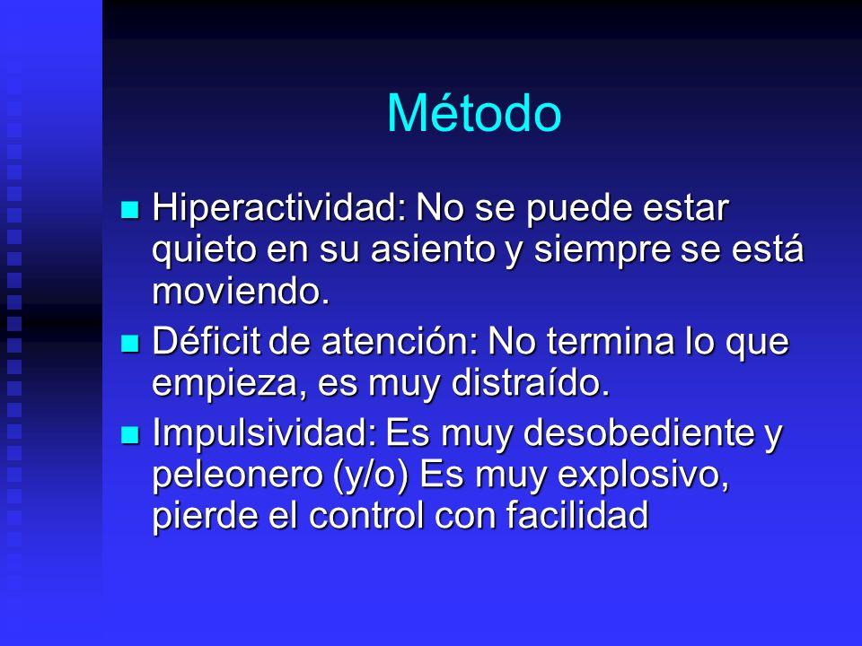 Método Hiperactividad: No se puede estar quieto en su asiento y siempre se está moviendo. Hiperactividad: No se puede estar quieto en su asiento y sie