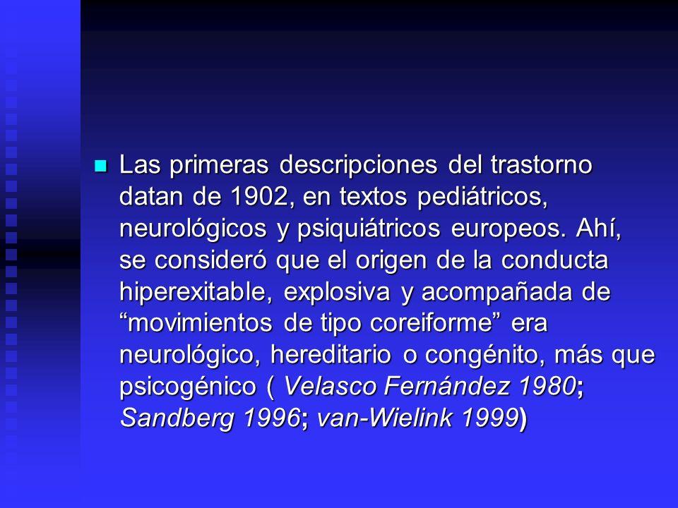 Las primeras descripciones del trastorno datan de 1902, en textos pediátricos, neurológicos y psiquiátricos europeos. Ahí, se consideró que el origen