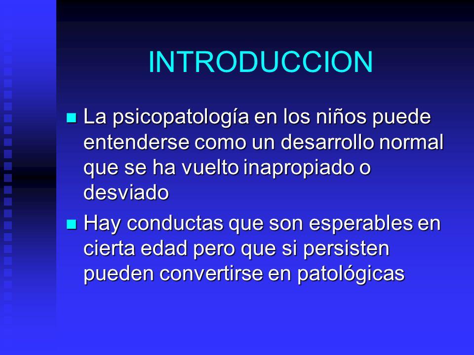 INTRODUCCION La psicopatología en los niños puede entenderse como un desarrollo normal que se ha vuelto inapropiado o desviado La psicopatología en lo