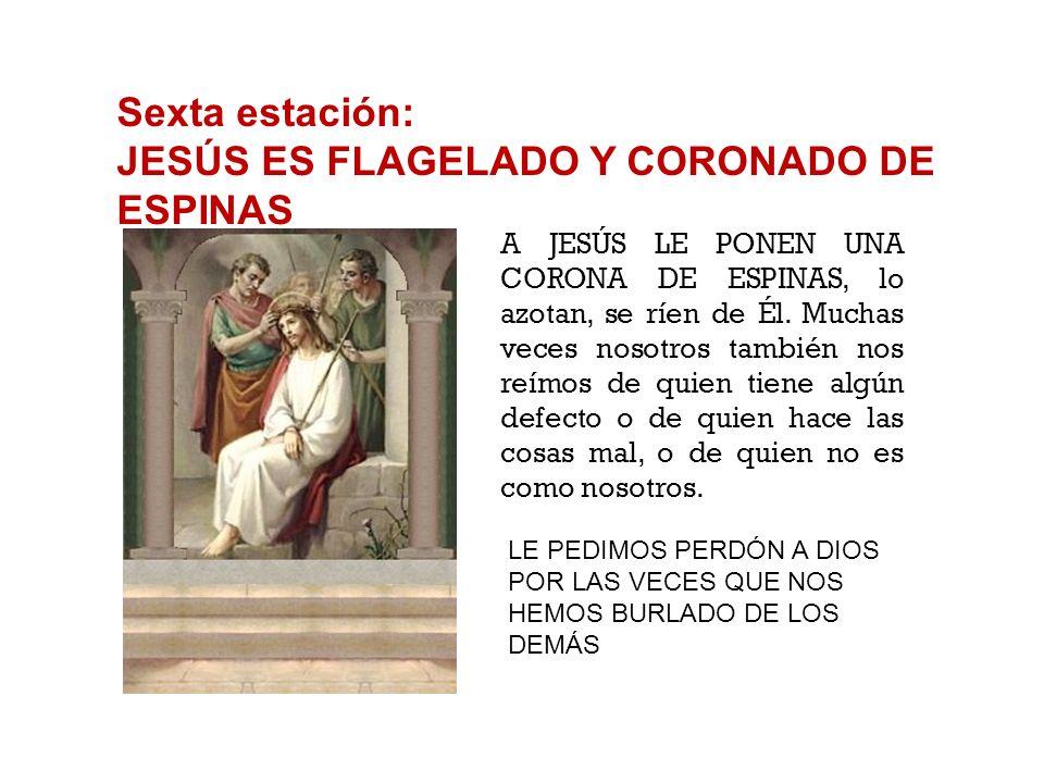 Quinta estación: JESÚS ES JUZGADO POR PILATO PILATO JUZGA A JESÚS. Lo condena a morir crucificado. Pilato es un hombre que echa la culpa a los demás,