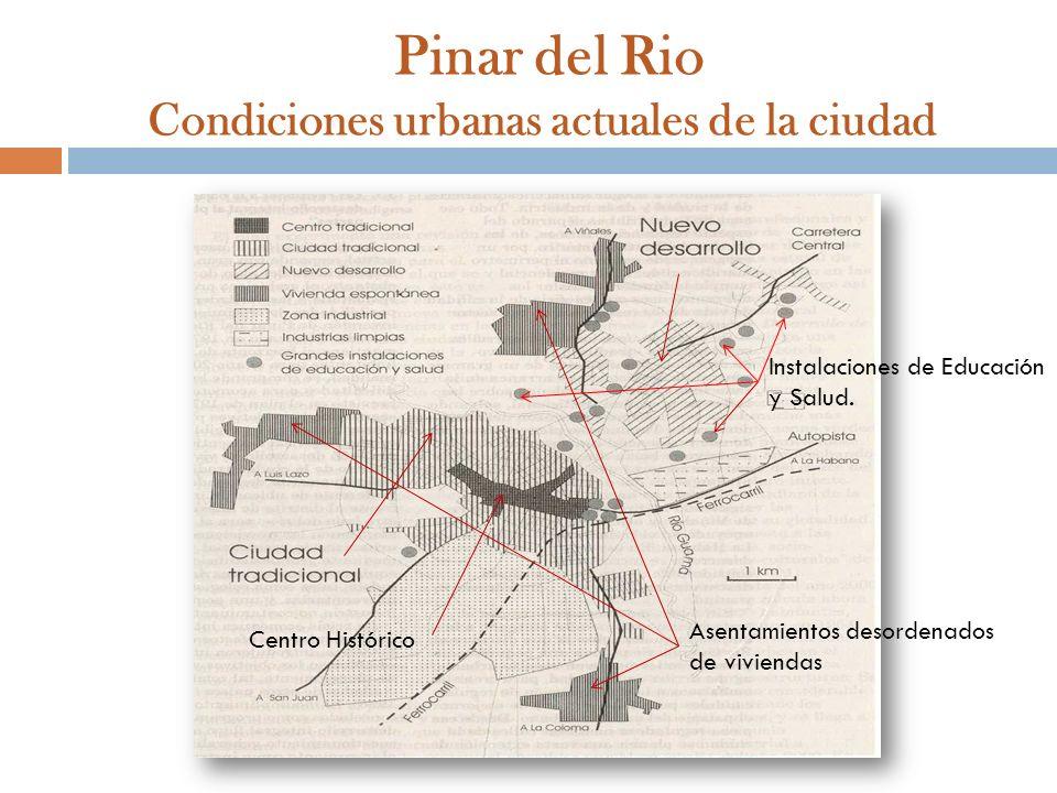Pinar del Rio Condiciones urbanas actuales de la ciudad Asentamientos desordenados de viviendas Centro Histórico Instalaciones de Educación y Salud.
