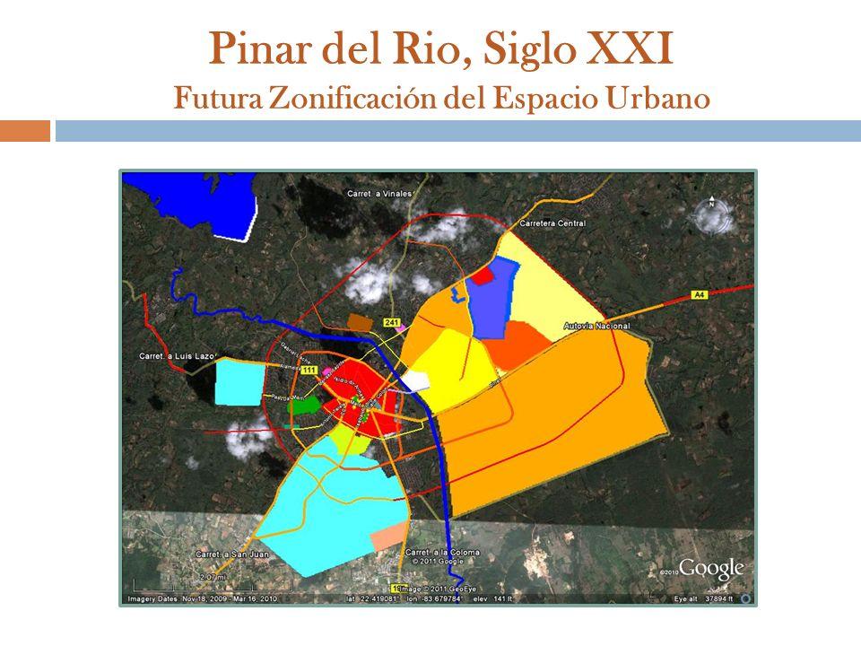Pinar del Rio, Siglo XXI Futura Zonificación del Espacio Urbano