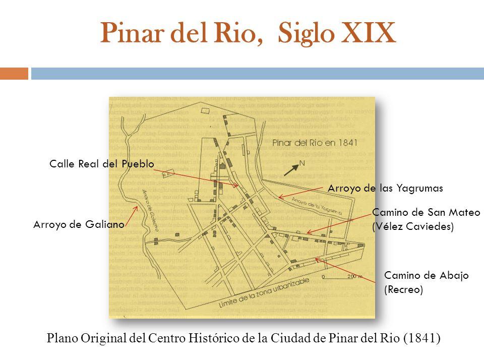 Pinar del Rio, Siglo XIX Plano Original del Centro Histórico de la Ciudad de Pinar del Rio (1841) Arroyo de Galiano Arroyo de las Yagrumas Camino de A