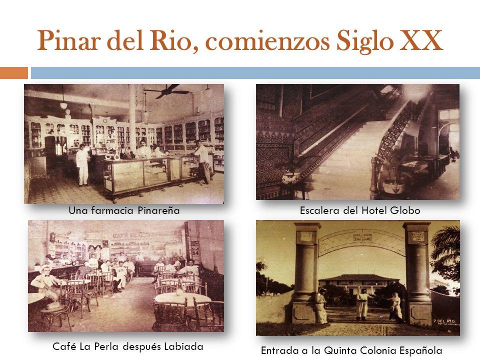 Una farmacia PinareñaEscalera del Hotel Globo Entrada a la Quinta Colonia Española Café La Perla después Labiada Pinar del Rio, comienzos Siglo XX