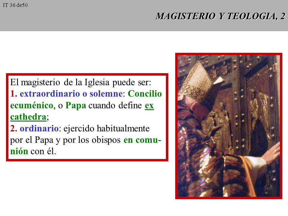 MAGISTERIO Y TEOLOGIA, 2 El magisterio de la Iglesia puede ser: 1.