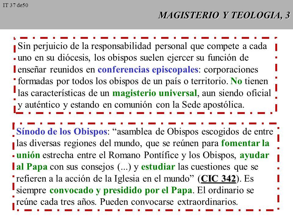 MAGISTERIO Y TEOLOGIA, 2 El magisterio de la Iglesia puede ser: 1. extraordinario o solemne: Concilio ecuménico, o Papa cuando define ex cathedra; 2.