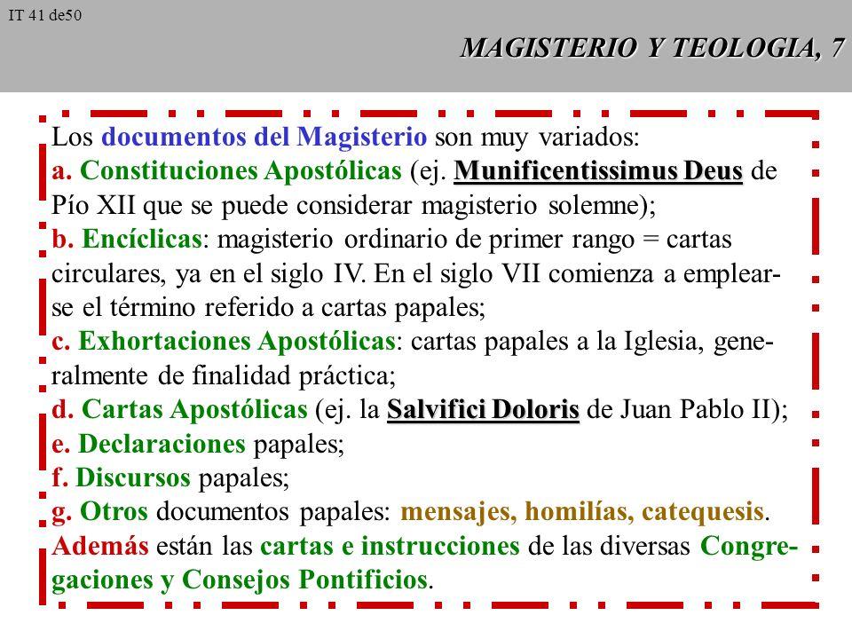 MAGISTERIO Y TEOLOGIA, 7 Los documentos del Magisterio son muy variados: Munificentissimus Deus a.
