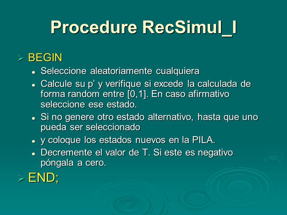 Procedure RecSimul_I BEGIN BEGIN Seleccione aleatoriamente cualquiera Seleccione aleatoriamente cualquiera Calcule su p y verifique si excede la calcu