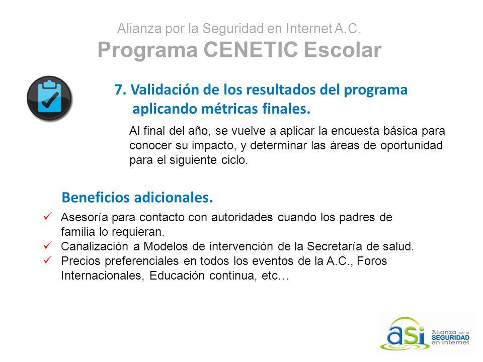 Alianza por la Seguridad en Internet A.C. Programa CENETIC Escolar 7. Validación de los resultados del programa aplicando métricas finales. Al final d