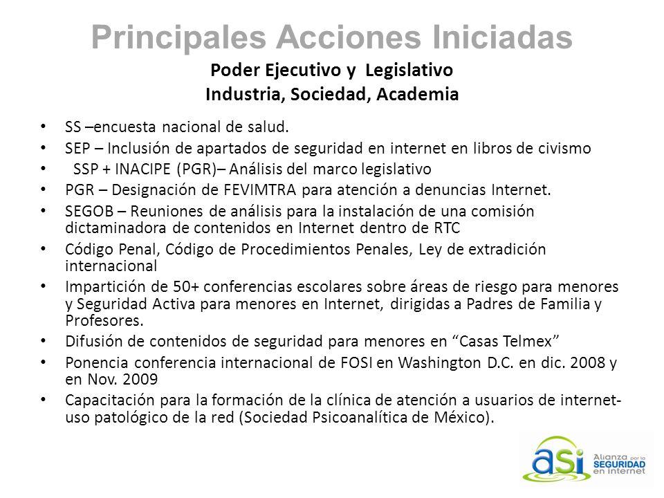 Principales Acciones Iniciadas Poder Ejecutivo y Legislativo Industria, Sociedad, Academia SS –encuesta nacional de salud. SEP – Inclusión de apartado