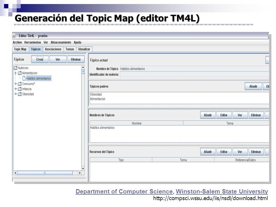 Generación del Topic Map (editor TM4L) Department of Computer Science, Winston-Salem State University http://compsci.wssu.edu/iis/nsdl/download.html Department of Computer ScienceWinston-Salem State University