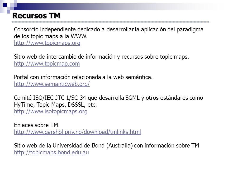 Recursos TM Consorcio independiente dedicado a desarrollar la aplicación del paradigma de los topic maps a la WWW. http://www.topicmaps.org http://www