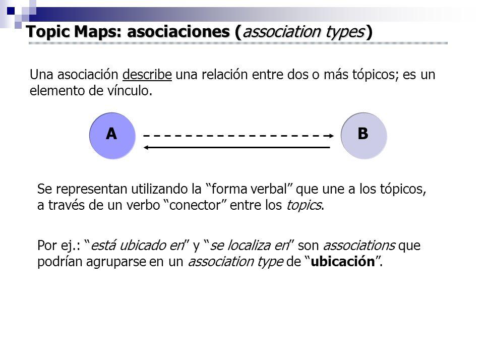 Topic Maps: asociaciones (association types Topic Maps: asociaciones (association types ) Una asociación describe una relación entre dos o más tópicos; es un elemento de vínculo.