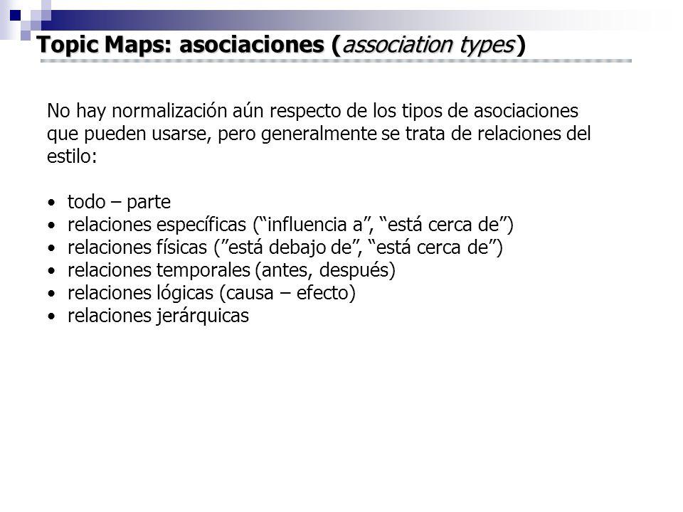 Topic Maps: asociaciones (association types Topic Maps: asociaciones (association types ) No hay normalización aún respecto de los tipos de asociacion