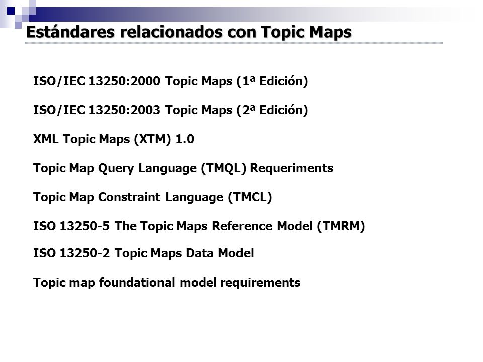 Estándares relacionados con Topic Maps ISO/IEC 13250:2000 Topic Maps (1ª Edición) ISO/IEC 13250:2003 Topic Maps (2ª Edición) XML Topic Maps (XTM) 1.0