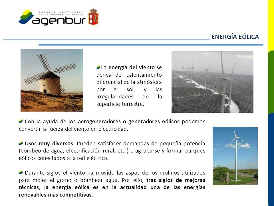 La energía del viento se deriva del calentamiento diferencial de la atmósfera por el sol, y las irregularidades de la superficie terrestre. Con la ayu