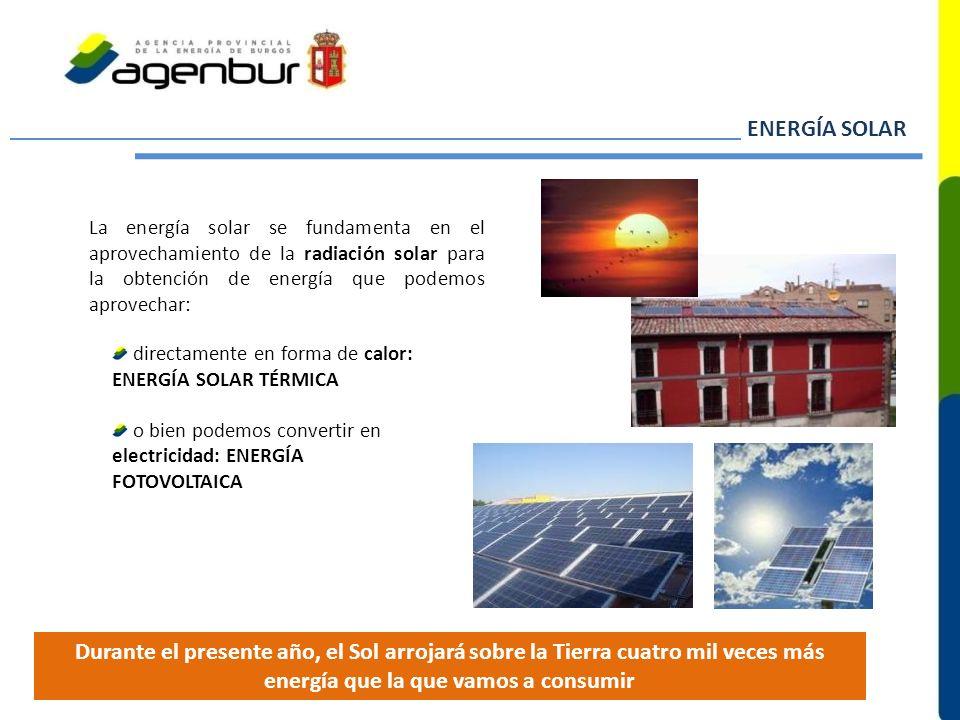 La energía solar se fundamenta en el aprovechamiento de la radiación solar para la obtención de energía que podemos aprovechar: ENERGÍA SOLAR directam