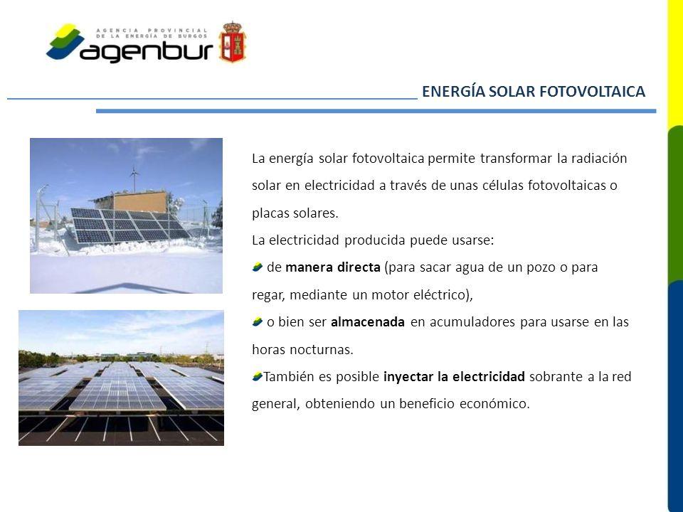 La energía solar fotovoltaica permite transformar la radiación solar en electricidad a través de unas células fotovoltaicas o placas solares. La elect