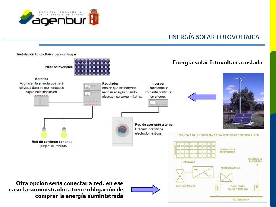 Otra opción sería conectar a red, en ese caso la suministradora tiene obligación de comprar la energía suministrada Energía solar fotovoltaica aislada