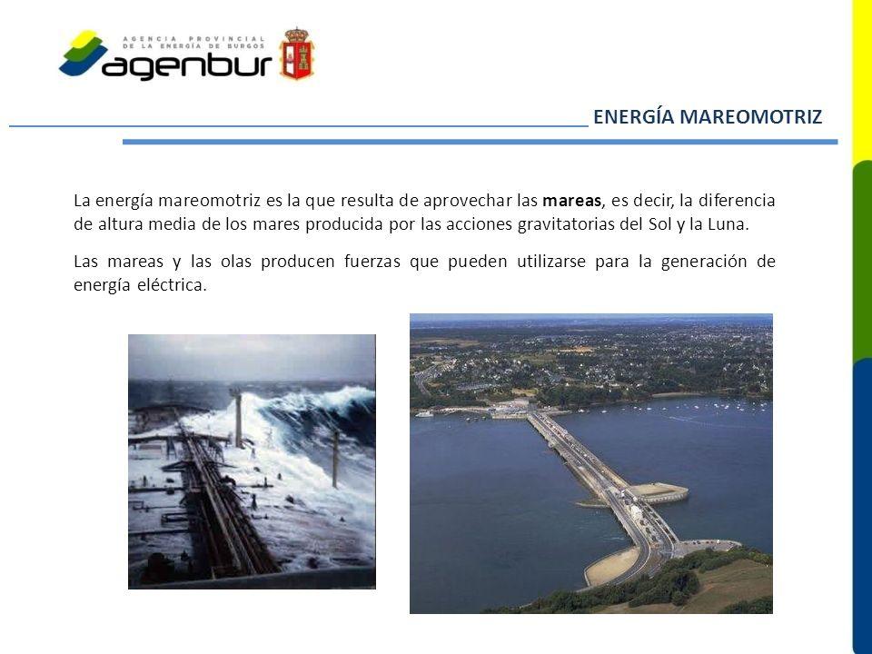 ENERGÍA MAREOMOTRIZ La energía mareomotriz es la que resulta de aprovechar las mareas, es decir, la diferencia de altura media de los mares producida