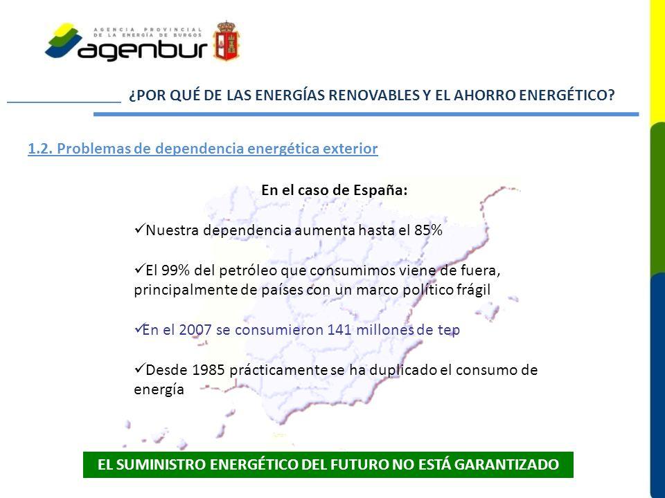 ¿POR QUÉ DE LAS ENERGÍAS RENOVABLES Y EL AHORRO ENERGÉTICO? 1.2. Problemas de dependencia energética exterior En el caso de España: Nuestra dependenci