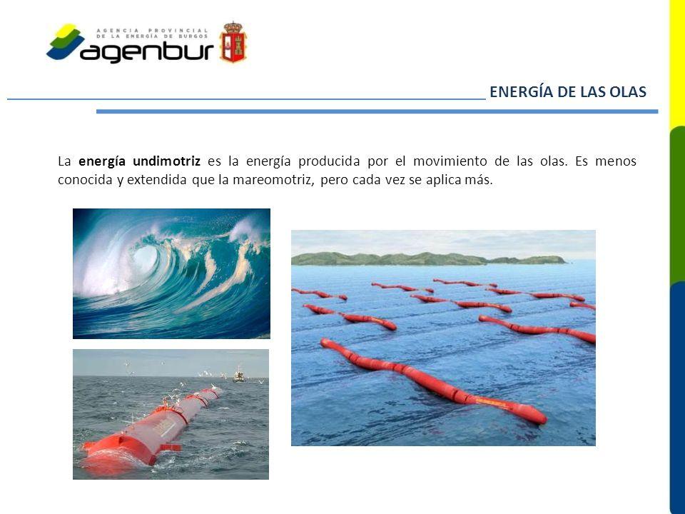 ENERGÍA DE LAS OLAS La energía undimotriz es la energía producida por el movimiento de las olas. Es menos conocida y extendida que la mareomotriz, per