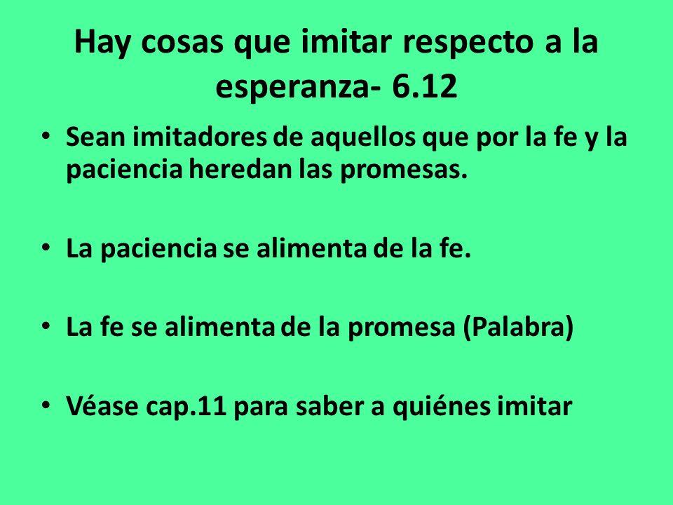 Hay cosas que imitar respecto a la esperanza- 6.12 Sean imitadores de aquellos que por la fe y la paciencia heredan las promesas.