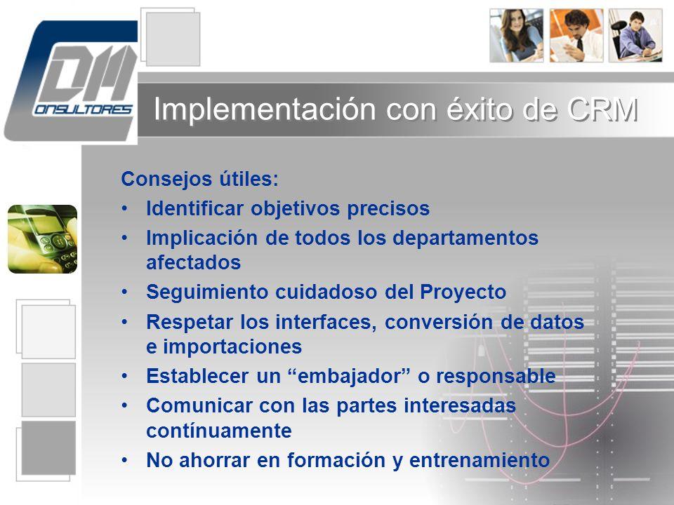 Implementación con éxito de CRM Consejos útiles: Identificar objetivos precisos Implicación de todos los departamentos afectados Seguimiento cuidadoso