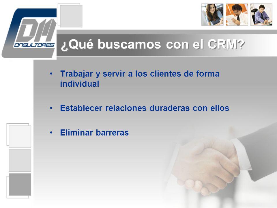 Trabajar y servir a los clientes de forma individual Establecer relaciones duraderas con ellos Eliminar barreras ¿Qué buscamos con el CRM?