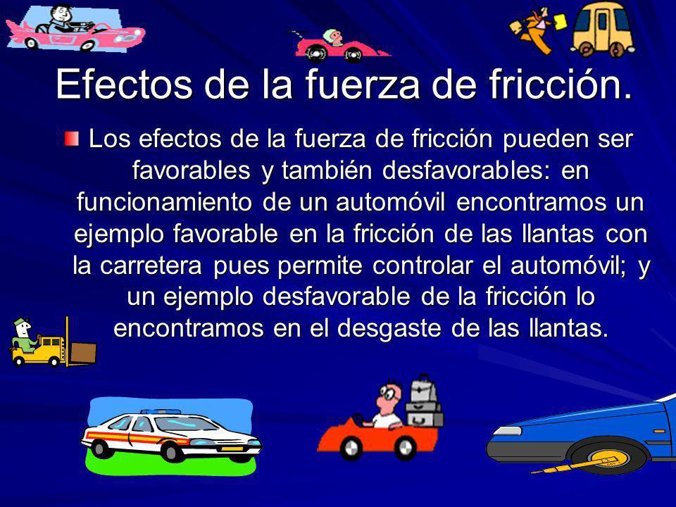 Efectos de la fuerza de fricción. Los efectos de la fuerza de fricción pueden ser favorables y también desfavorables: en funcionamiento de un automóvi