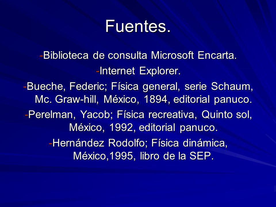 Fuentes. -Biblioteca de consulta Microsoft Encarta. -Internet Explorer. -Bueche, Federic; Física general, serie Schaum, Mc. Graw-hill, México, 1894, e