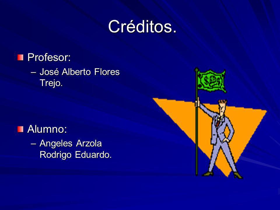 Créditos. Créditos. Profesor: –José Alberto Flores Trejo. Alumno: –Angeles Arzola Rodrigo Eduardo.