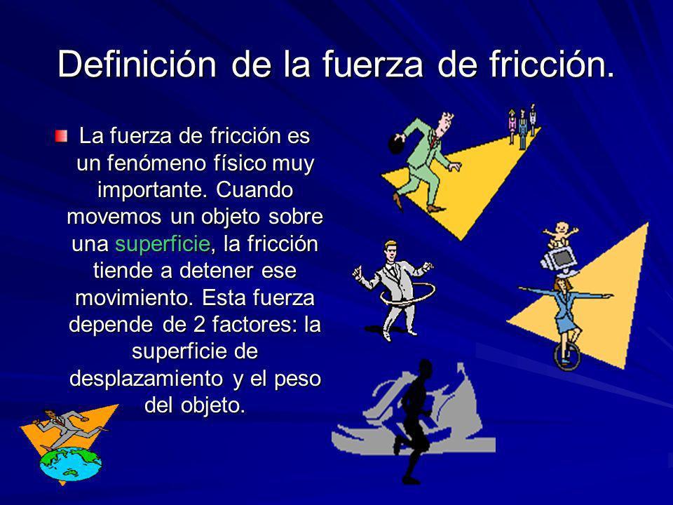 Existen tres tipos de fricción: –La estática.–Por desplazamiento.