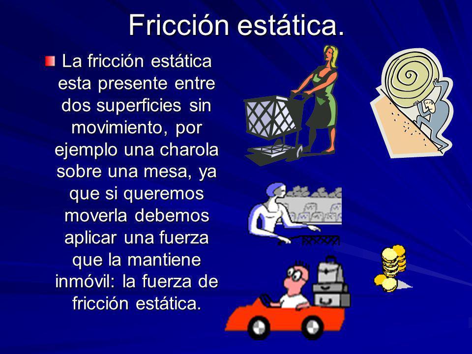 Fricción estática. La fricción estática esta presente entre dos superficies sin movimiento, por ejemplo una charola sobre una mesa, ya que si queremos