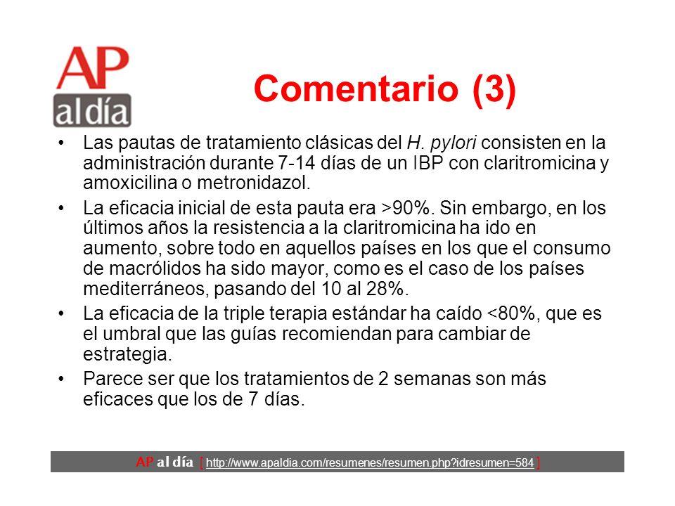 AP al día [ http://www.apaldia.com/resumenes/resumen.php?idresumen=584 ] Comentario (2) RecomendaciónGrado Enfermedad ulcerosa.A Linfoma gástrico tipo