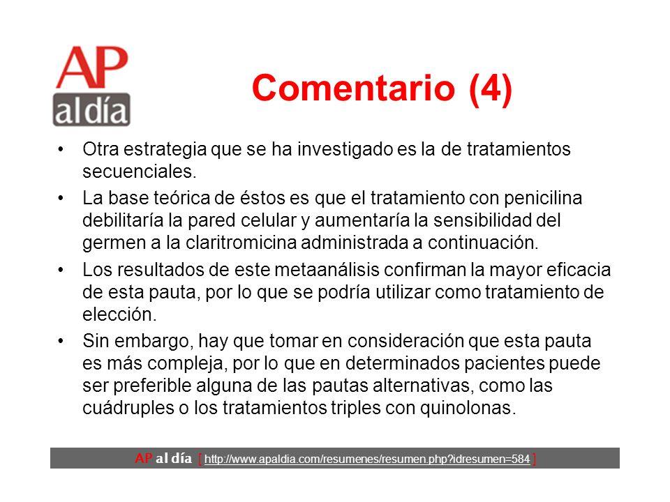 AP al día [ http://www.apaldia.com/resumenes/resumen.php?idresumen=584 ] Comentario (3) Las pautas de tratamiento clásicas del H. pylori consisten en
