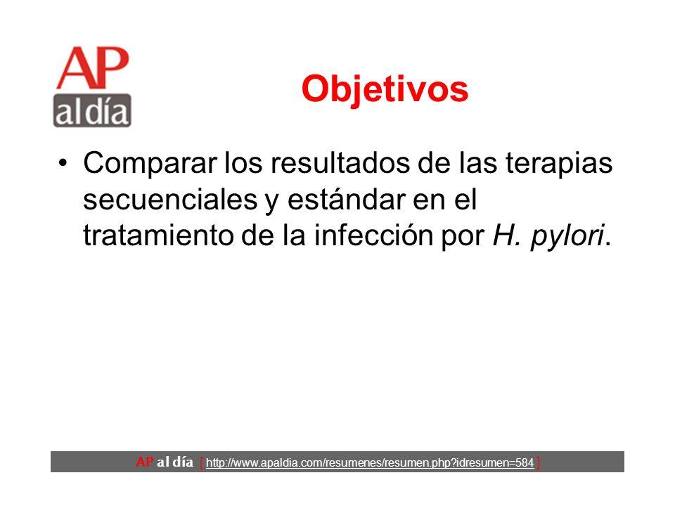 AP al día [ http://www.apaldia.com/resumenes/resumen.php?idresumen=584 ] Antecedentes El tratamiento estándar del H. pylori actualmente incluye la adm
