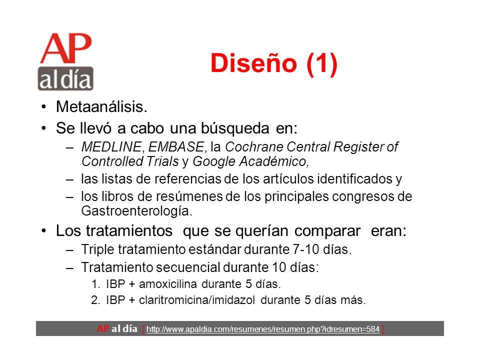 AP al día [ http://www.apaldia.com/resumenes/resumen.php idresumen=584 ] Objetivos Comparar los resultados de las terapias secuenciales y estándar en el tratamiento de la infección por H.