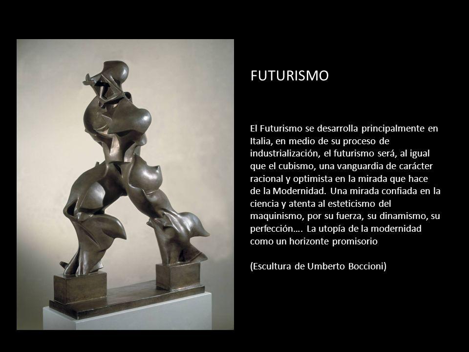 FUTURISMO El Futurismo se desarrolla principalmente en Italia, en medio de su proceso de industrialización, el futurismo será, al igual que el cubismo