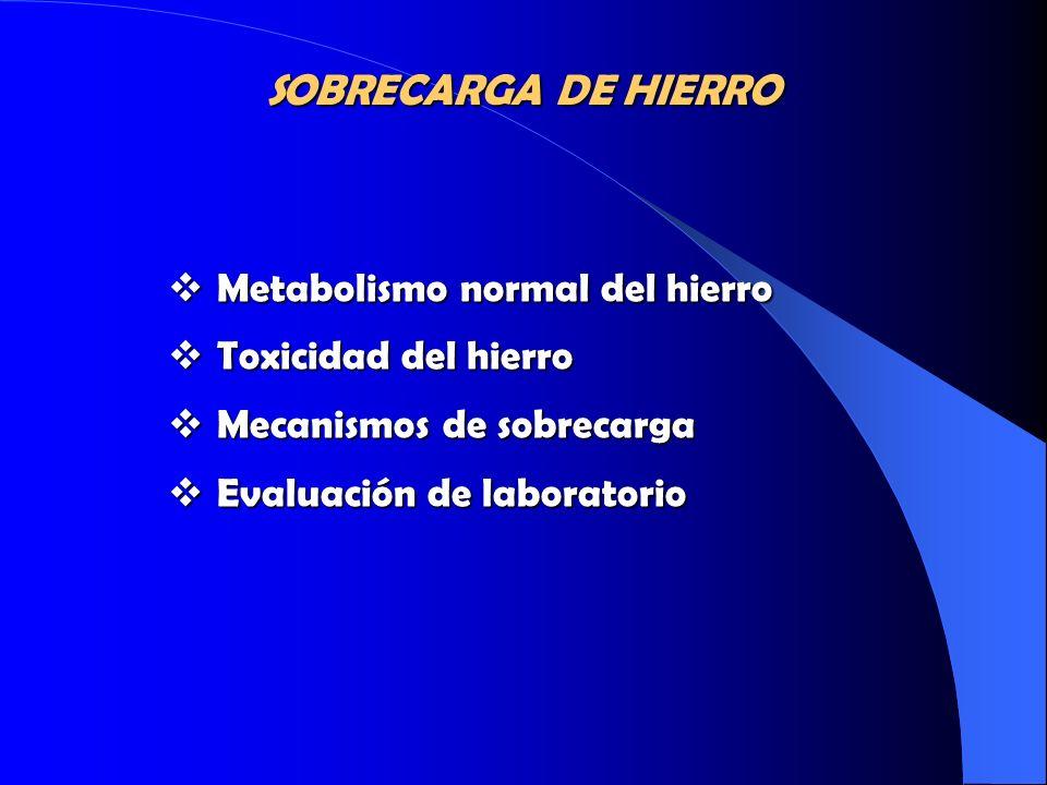 Metabolismo normal del hierro Metabolismo normal del hierro Toxicidad del hierro Toxicidad del hierro Mecanismos de sobrecarga Mecanismos de sobrecarg