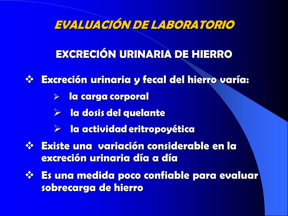 Excreción urinaria y fecal del hierro varía: Excreción urinaria y fecal del hierro varía: la carga corporal la carga corporal la dosis del quelante la