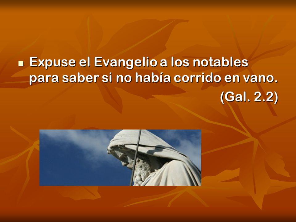 Expuse el Evangelio a los notables para saber si no había corrido en vano. Expuse el Evangelio a los notables para saber si no había corrido en vano.
