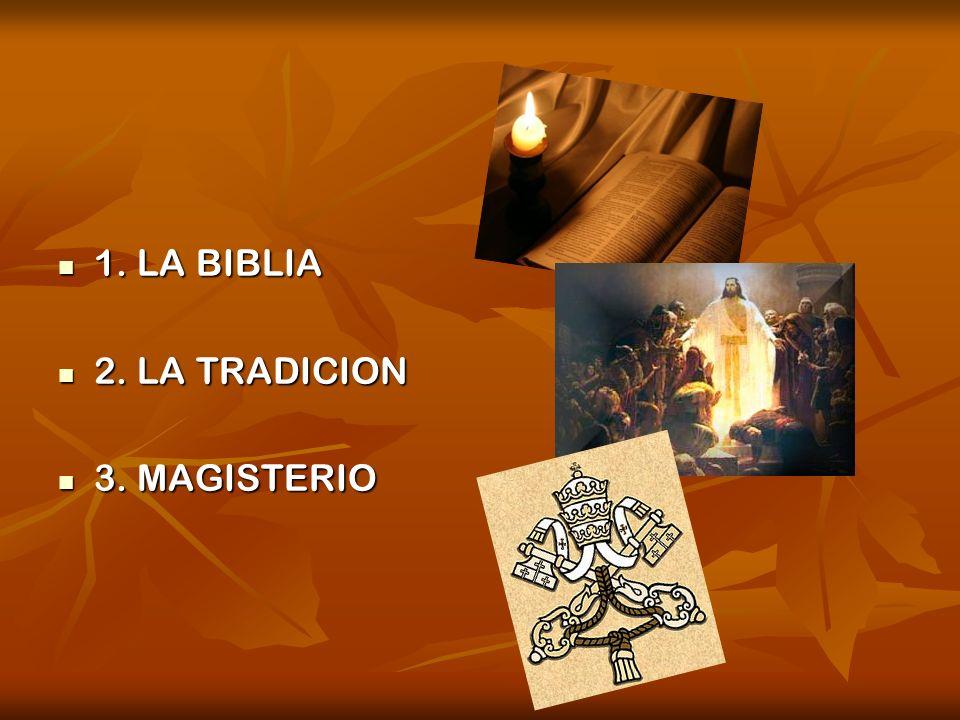 1. LA BIBLIA 1. LA BIBLIA 2. LA TRADICION 2. LA TRADICION 3. MAGISTERIO 3. MAGISTERIO