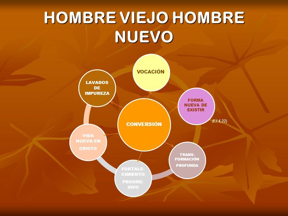 HOMBRE VIEJO HOMBRE NUEVO CONVERSIÓN LAVADOS DE IMPUREZA TRANS- FORMACIÓN PROFUNDA FORTALE- CIMIENTO PROGRE- SIVO VIDA NUEVA EN CRISTO FORMA NUEVA DE